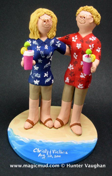 Lesbians on the beach wedding cake topper