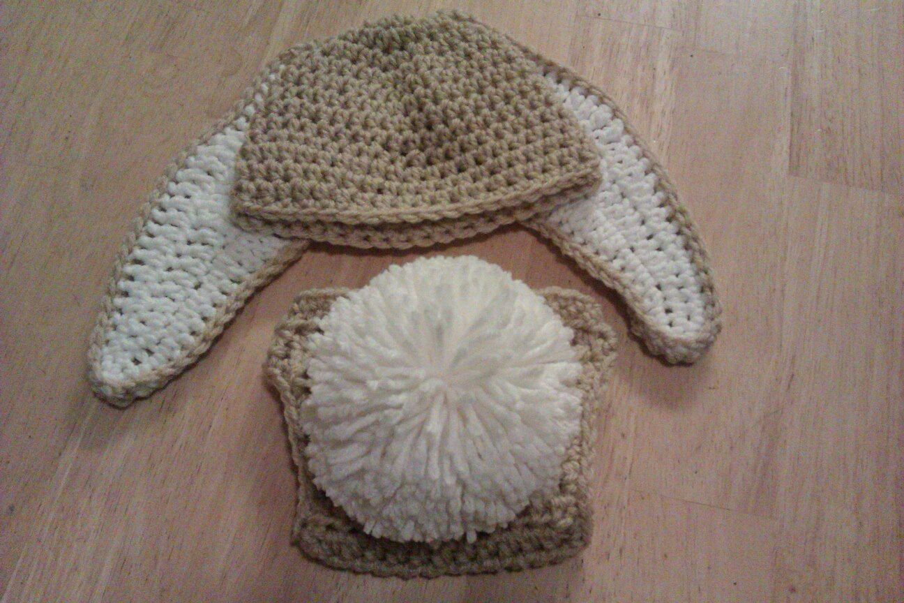 0cca81a269f Crochet Floppy Ear Bunny Hat and Tail Diaper Cover Set - Newborn to Adult  Sizes