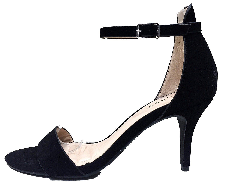 Bonnibel Harleen 01 Ankle Strap Open Peep Toe Low Kitten Heel Pump Sandal Shoe Black Read More Reviews Of The Product Heels Kitten Heel Pumps Womens Heels
