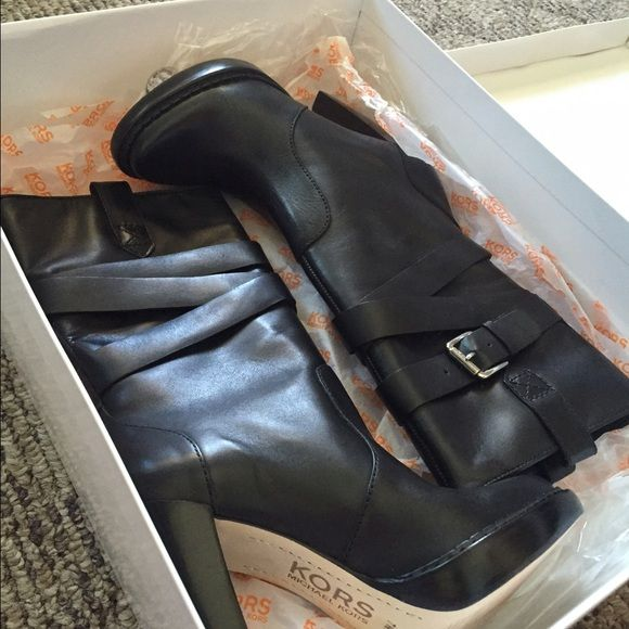 Boots Beautiful black boots, brand new with original box Michael Kors Shoes Heeled Boots