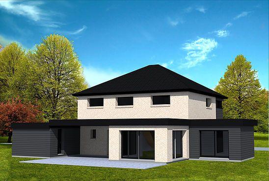 Maison cubique avec toit 4 pans maison pinterest for Plan de maison cubique