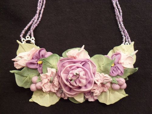 Ribbon work necklace in purples
