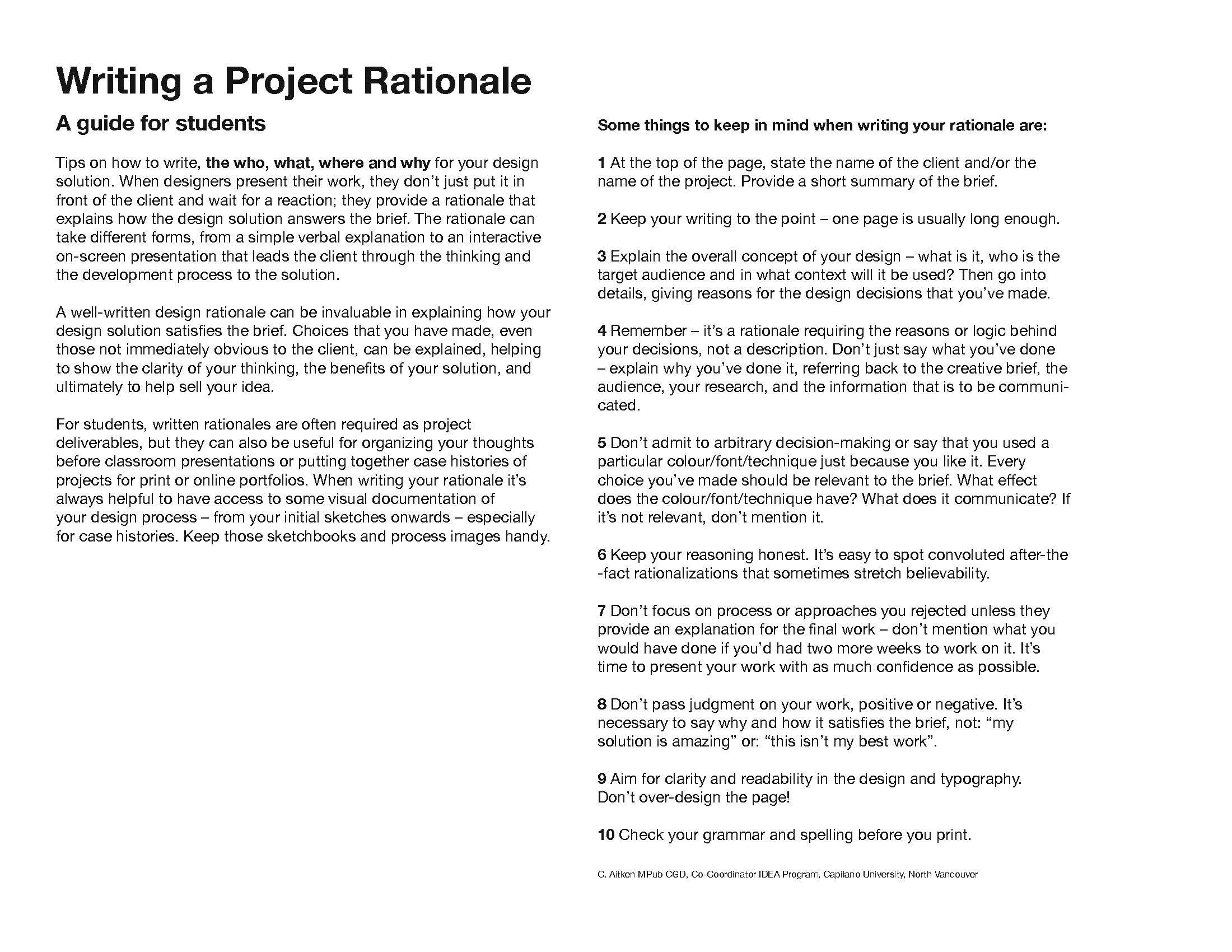 Tips For Writing A Project Rationale