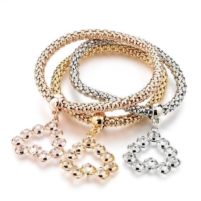 Austrian Rhinestones Bracelet Set Of 3 Open Hearts