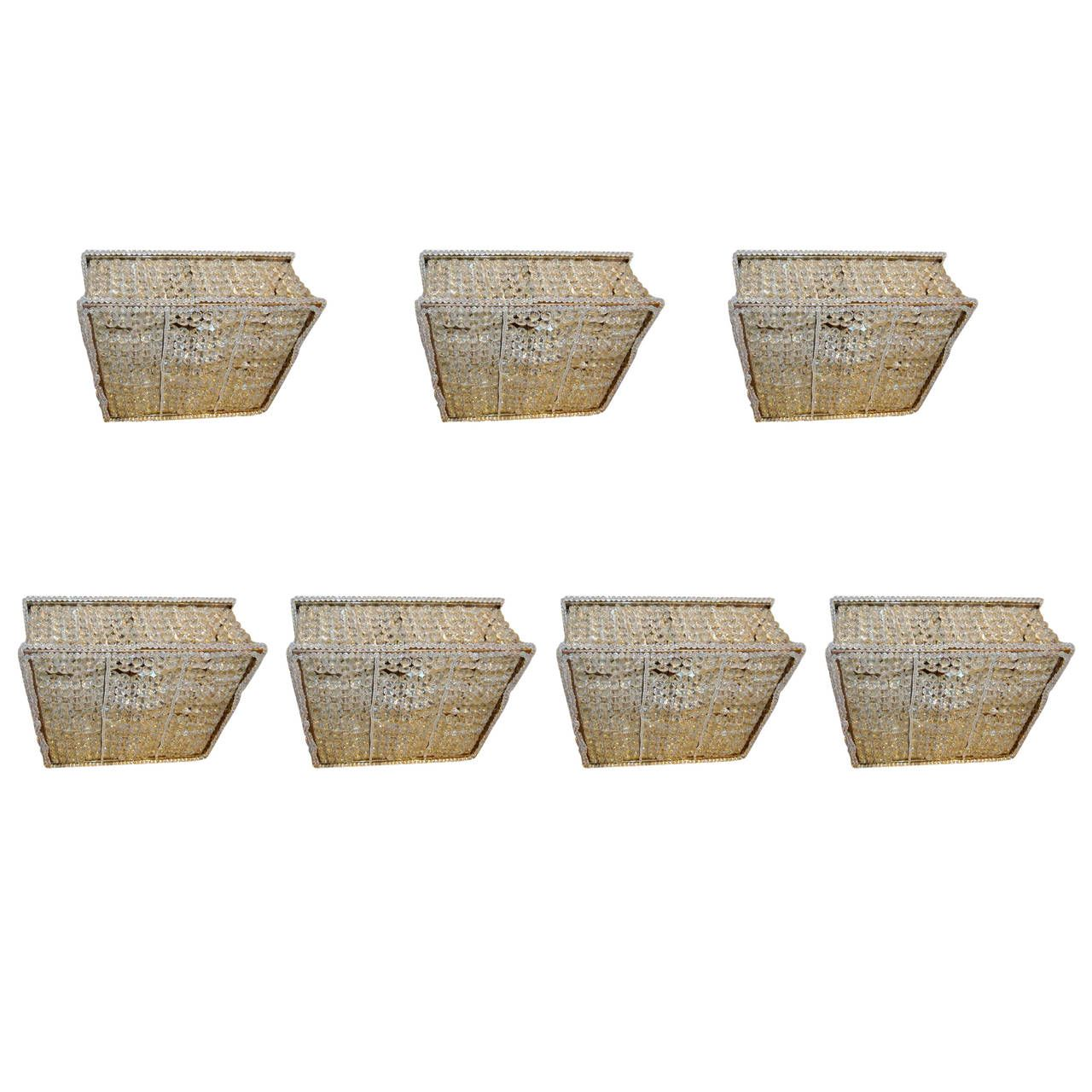 Set of seven square flush mount fixtures pendant lighting squares