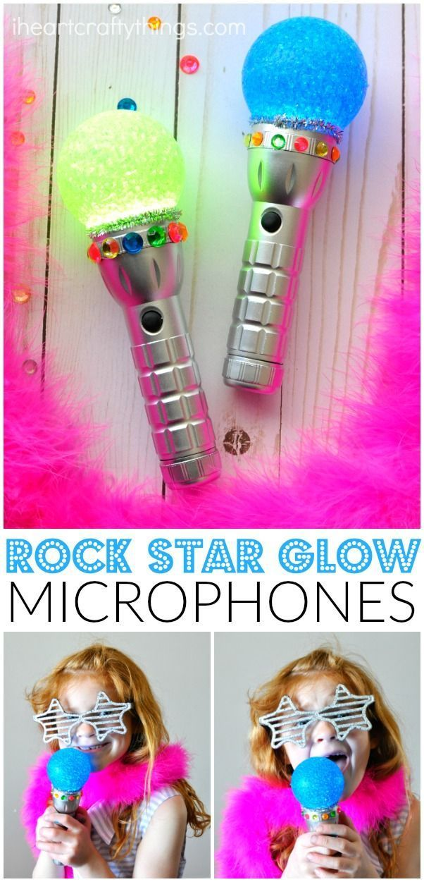 Glowing Rock Star Microphone Craft #rockstarparty