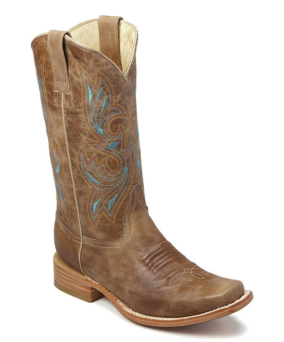 Loving this Bonanza Boots Camel & Turquoise Embroidered Leather Cowboy Boot on #zulily! #zulilyfinds