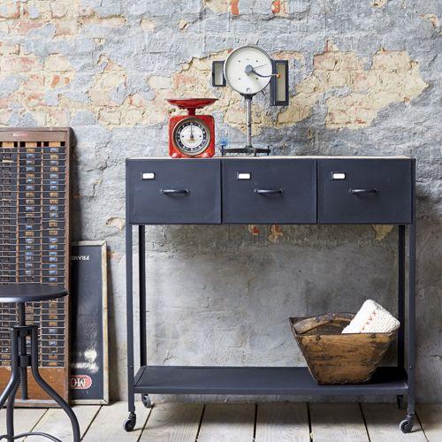 Console En Metal Noir Plateau Manguier 3 Tiroirs Industriel Ameublement Industriel Vintage Salon Industriel Interieurs Industriels
