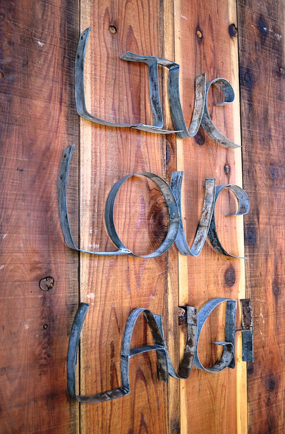 "Wine Barrel Wall Art ring art - ""live laugh love"" - 100% recycled from napa wine barrel"