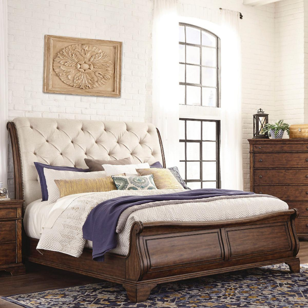 Trisha Yearwood Home Collection King Sleigh Upholstered