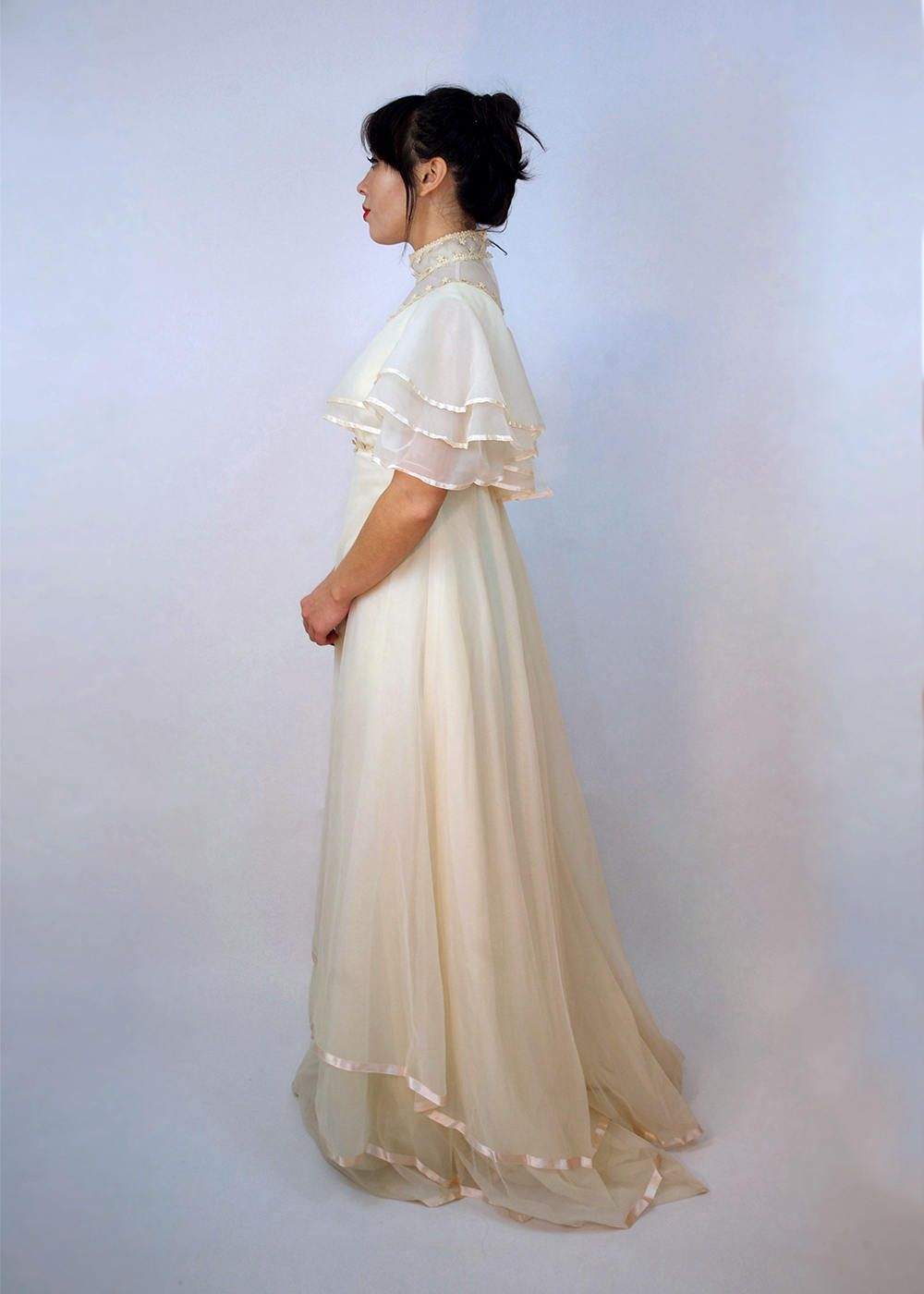 S flutter sleeve ivory wedding dress vintage empire waist