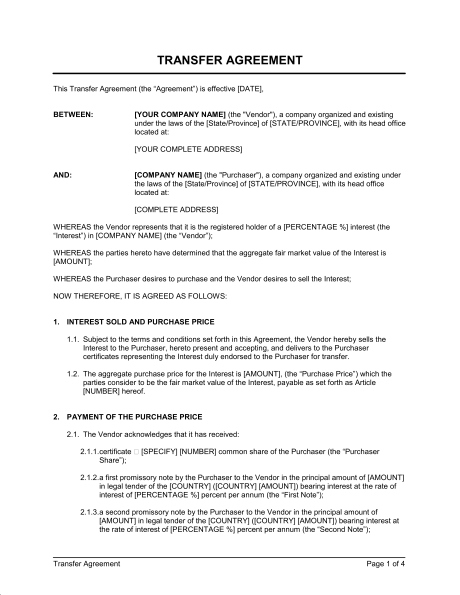 Stock Transfer Agreement Business Template Intended For Free Business Transfer Agreement Template In 2021 Contract Template Business Template Transfer Pricing