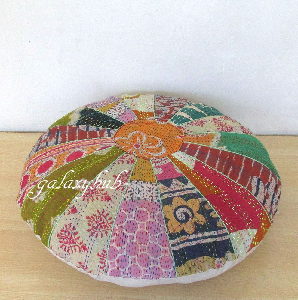 "16"" Vintage Kantha Stitch Patchwork Small Round Floor Pillow Pouf Cover Throw #Unbranded #Ethnic"