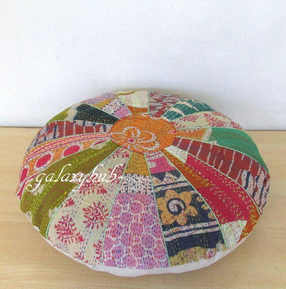 Pin on Kantha Round Floor Pillow