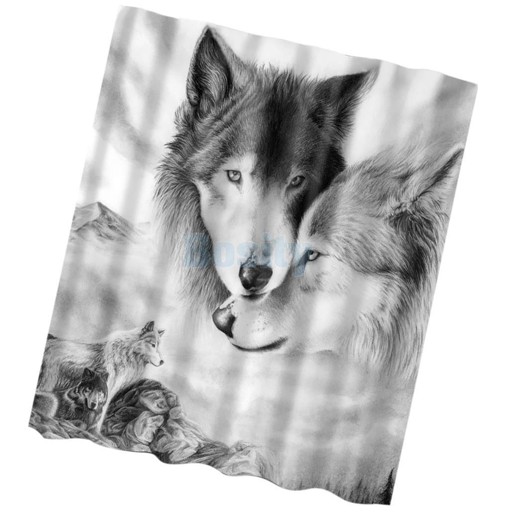 Extra Long Wolf Shower Curtain Bathroom Sheer Water Resistant