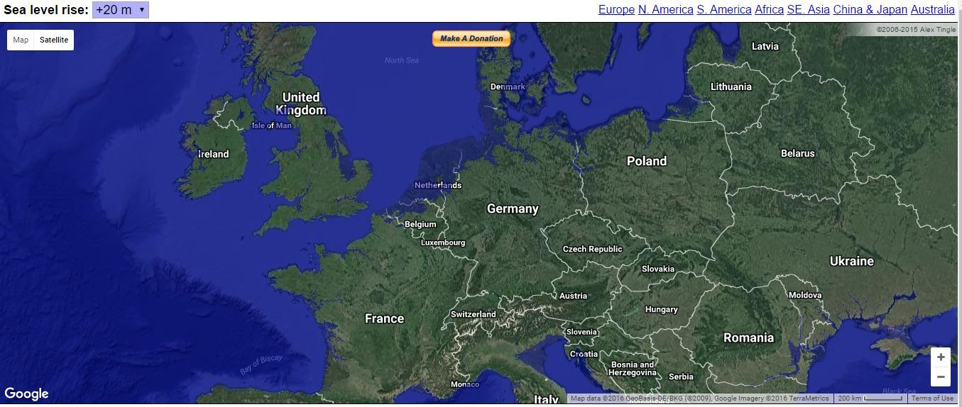 Map with sea levels 20 meters higher