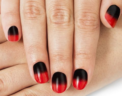 Red Black Ombre Nails