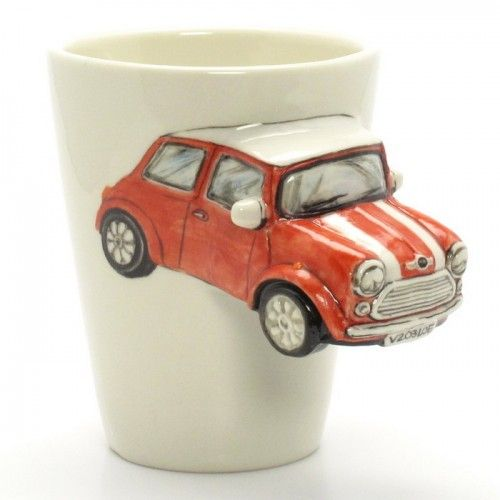 Red austin mini cooper mug ceramic 3d handmade cup art and craft ...
