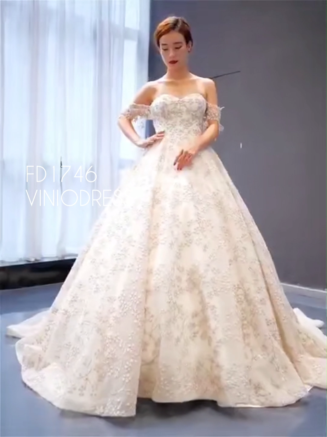 Detachable sleeve beaded lace ball gown couture prom