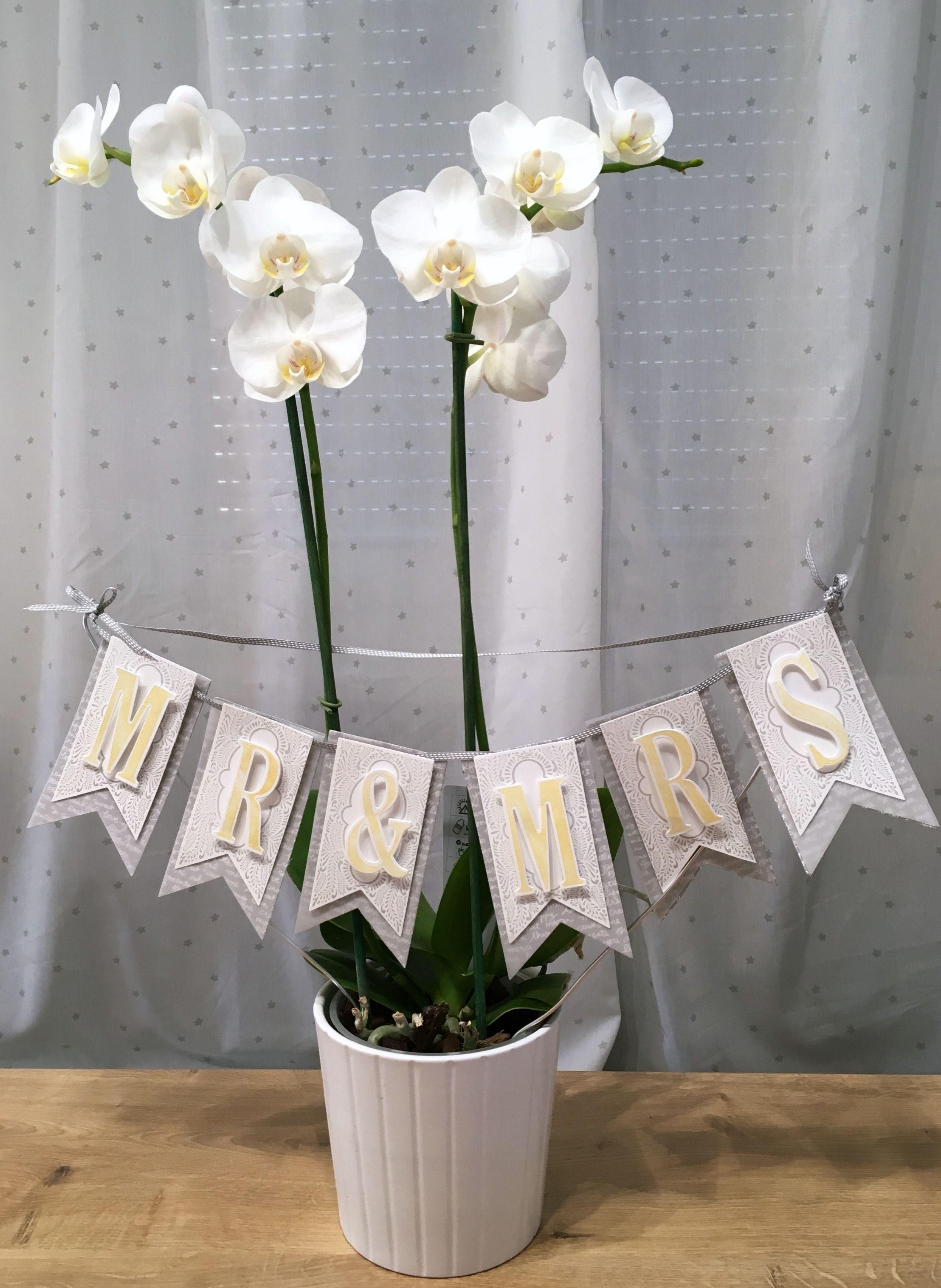 Stilvolles Hochzeitsbanner #Blumen #Basteln #Papier #Stempel #Stampin Up  #Geschenk #