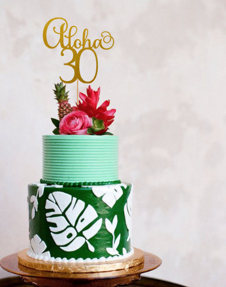 Aloha 30 Cake Topper 30th Birthday Thirty Decorations 30t