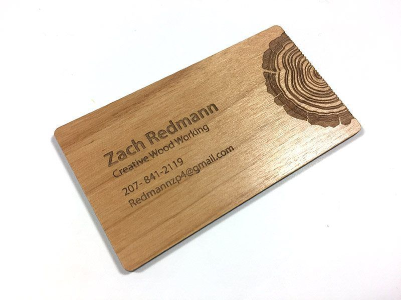 Laser engraved business cards on wood, metal and plastic. Carry a ...