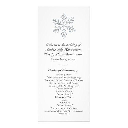 winter snowflake wedding program white wedding stuff