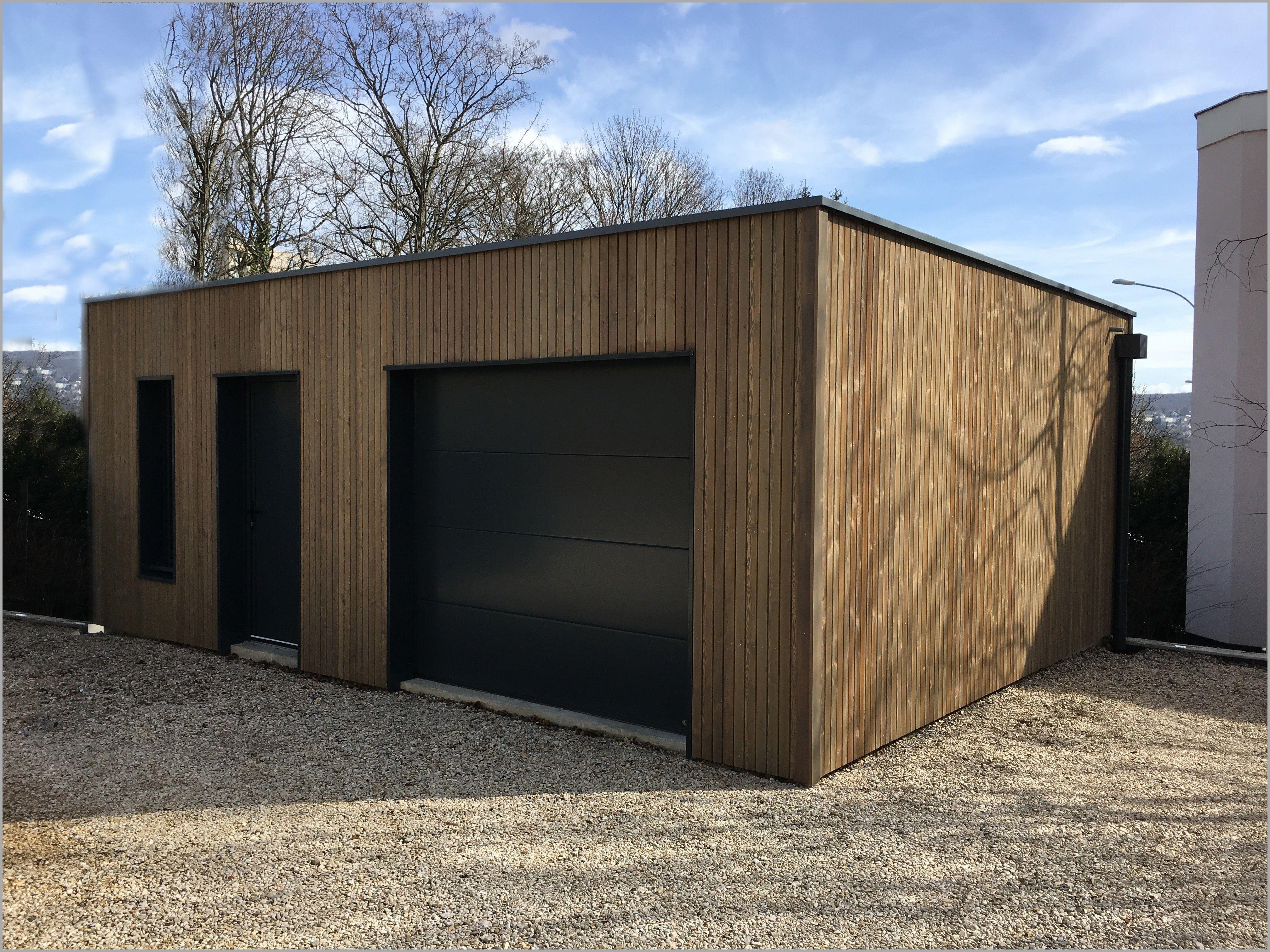 Garages En Bois Prefabriques Garage B Ton Pr Fabriqu Inspirant Kit En 2020 Garage Bois Garage Bois Toit Plat Parpaing