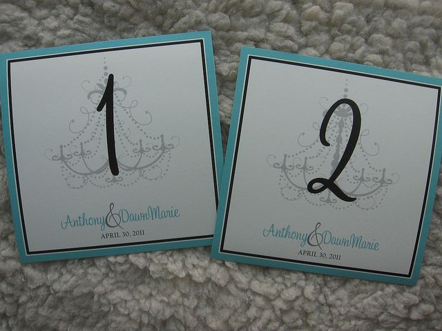 Tiffany Blue & Black Elegant Chandelier Wedding Table Numbers by Weddings*n*Whimsy,  Visit http://www.weddingsnwhimsy.com for ordering details!