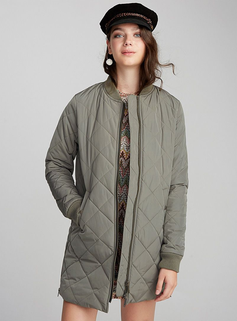 Long Diamond Quilted Bomber Jacket Jackets And Vests Mossy Green Raincoatsforwomenthenor Waterproof Jacket Women Raincoats For Women Quilted Bomber Jacket [ 1086 x 802 Pixel ]