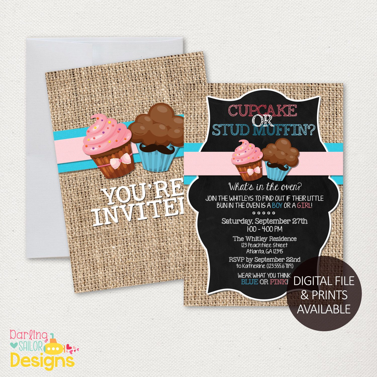 cupcake or stud muffin gender reveal invitation printable party