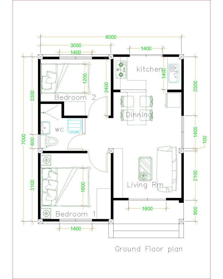 House Design 6x7 With 2 Bedrooms House Plans S Unique House Plans Simple House Plans Simple House Design Simple house plan with measurements