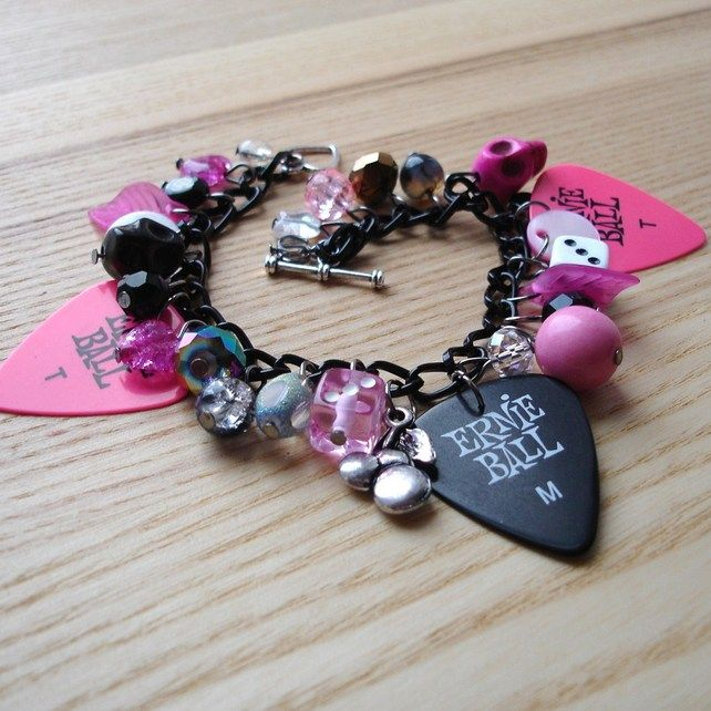 Pink and Black Candy Goth Plectrum Charm Bracelet £14.00