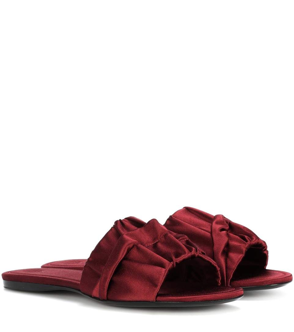 2ea2990aec258 THE ROW Ellen Ruched Satin Slides.  therow  shoes  sandals