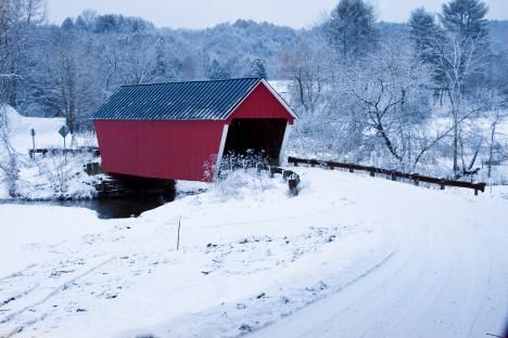Vermont Covered Bridge In Snow Barre Vt On The Way To My Cabin Covered Bridges Covered Bridge Photo Rustic Bridge