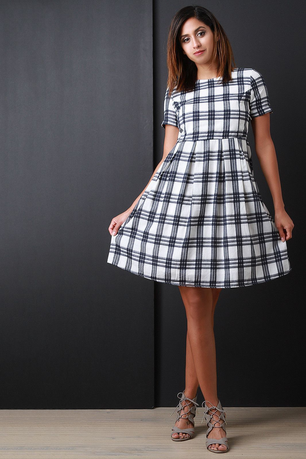 Plaid Short Sleeve Babydoll Dress