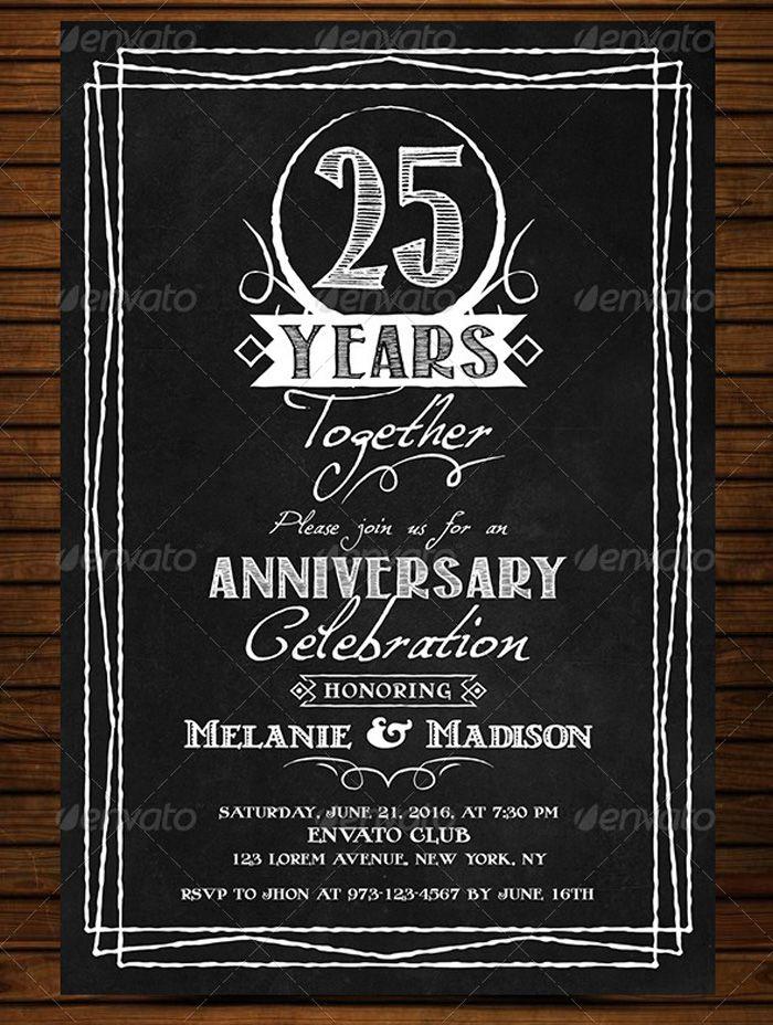 AnniversaryVintageChalkboardInvitation  Flyer Templates