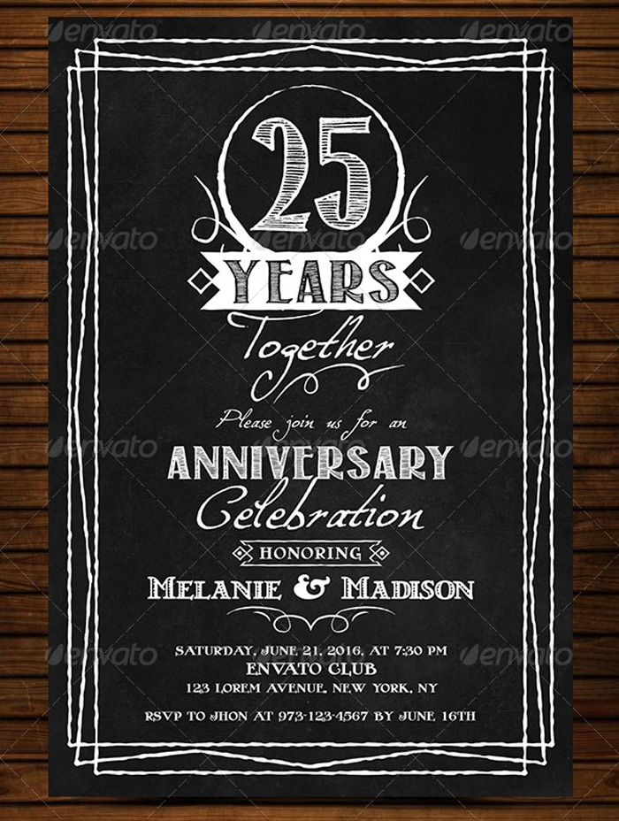 Anniversary-Vintage-Chalkboard-Invitation Flyer Templates