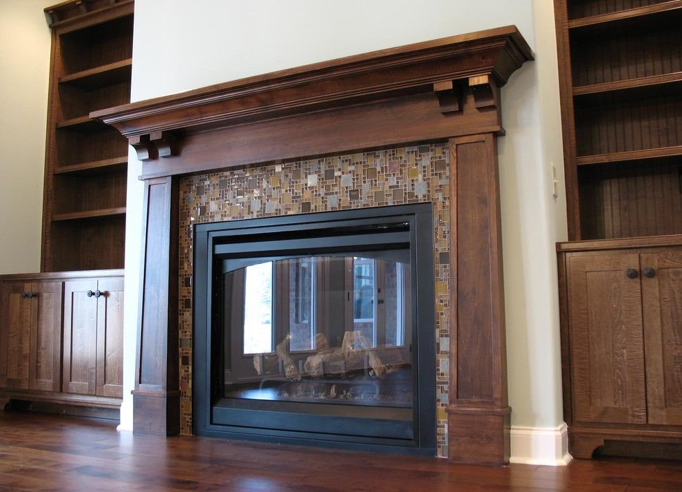 craftsman fireplace surround family room traditional with