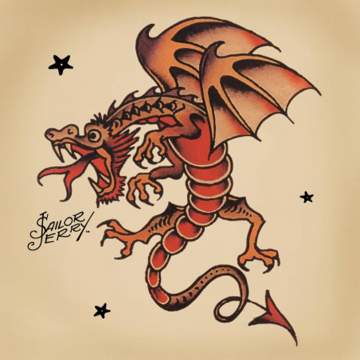 Traditional Dragon Tattoo Sailor Jerry Jerrys Dragons