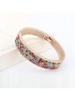 Gold Plated Colored Rhinestone Bracelet
