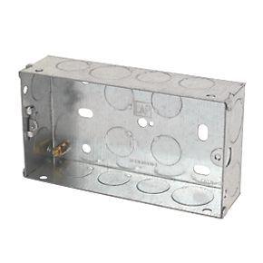 Lap Installation Boxes Galvanised Steel 2 Gang 35mm Pack Of 10 Galvanized Steel Galvanized Steel
