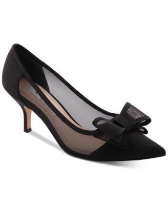 da93e4d7815 Nina Bianca Mesh Bow Kitten Heel Pumps