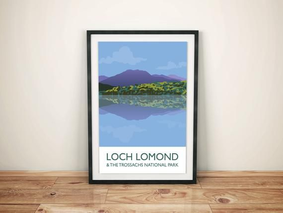 Loch Lomond & The Trossachs A3 Poster Print / Vintage Style Travel Poster / Digital Illustration #lochlomond