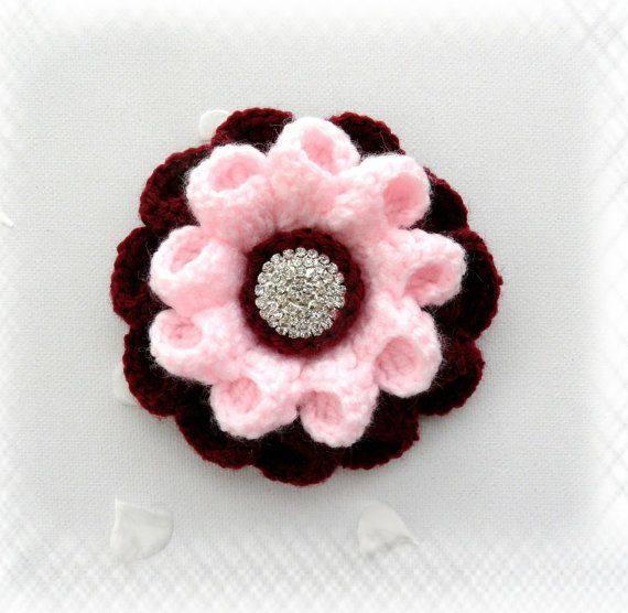 Crochet Corsage Brooch Burgundy Pink Flower with by CraftsbySigita,