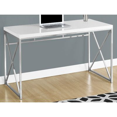 Computer Desk In Glossy White By Monarch Specialties Inc Sku Mnq2806 At Wayfair Com White Desk Office White Computer Desk Contemporary Desk