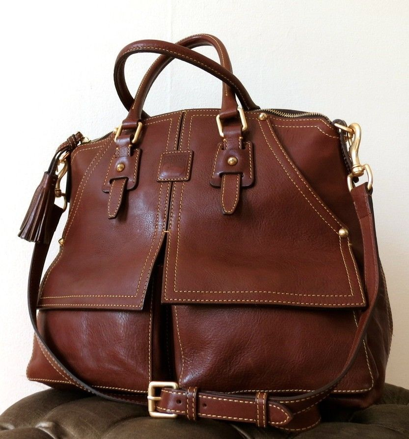 Dooney Bourke Chestnut Florentine Leather Clayton Satchel 428 Mama Mia