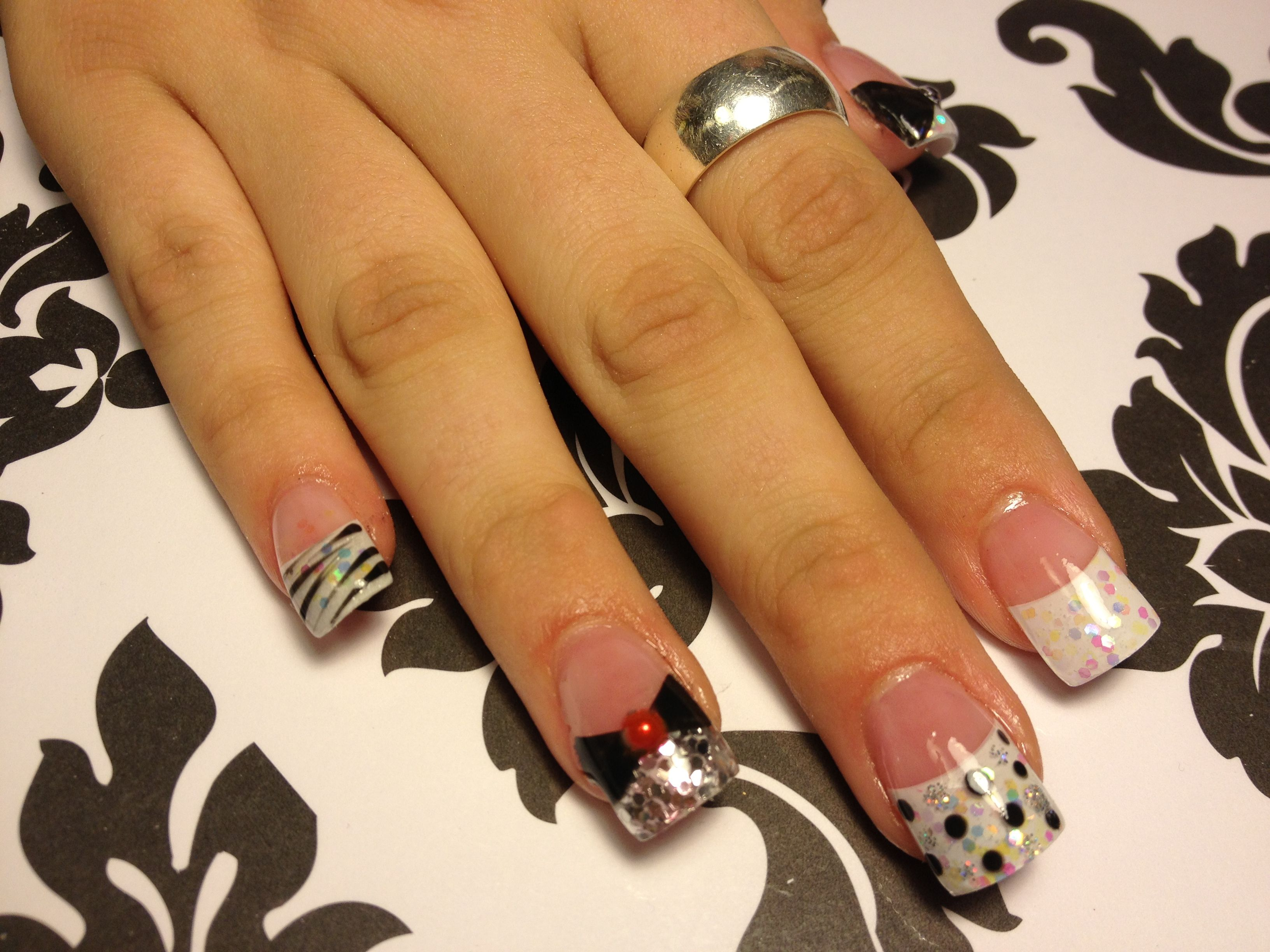 Red white French acrylic nails | Black & White Nail Couture | Pinterest