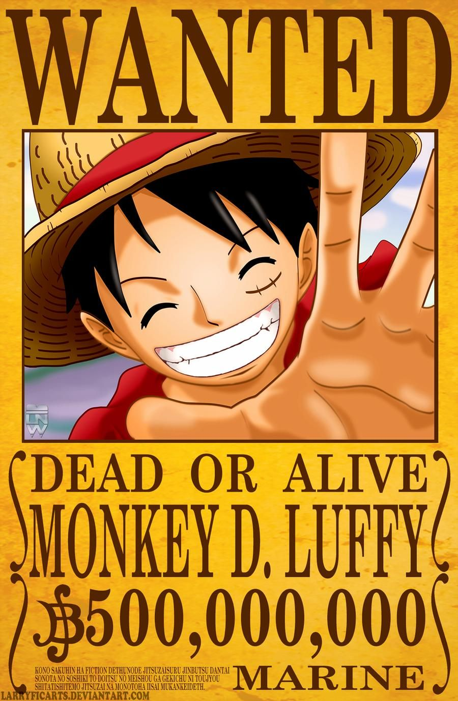Monkey D. Luffy Wanted Poster by LarryficArts on DeviantArt