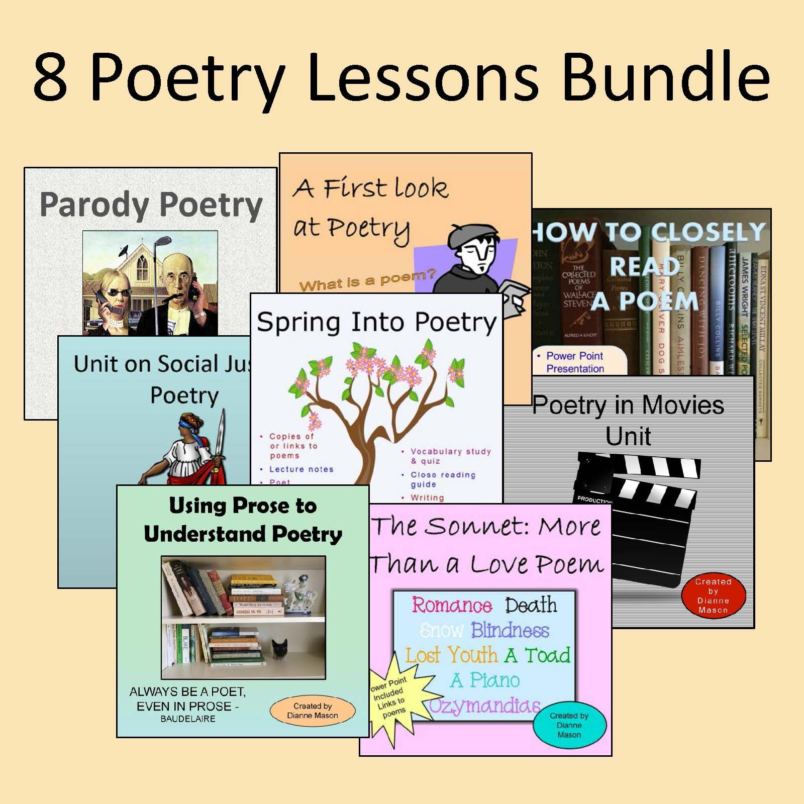 8 poetry lessons bundle dianne mason 39 s tpt store catalog poetry lessons poetry high school. Black Bedroom Furniture Sets. Home Design Ideas